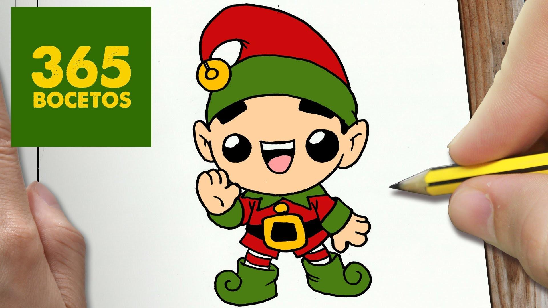 COMO DIBUJAR ELFO NAVIDAD KAWAII PASO A PASO - Dibujos kawaii faciles - How to draw a CHRISTMAS ELF