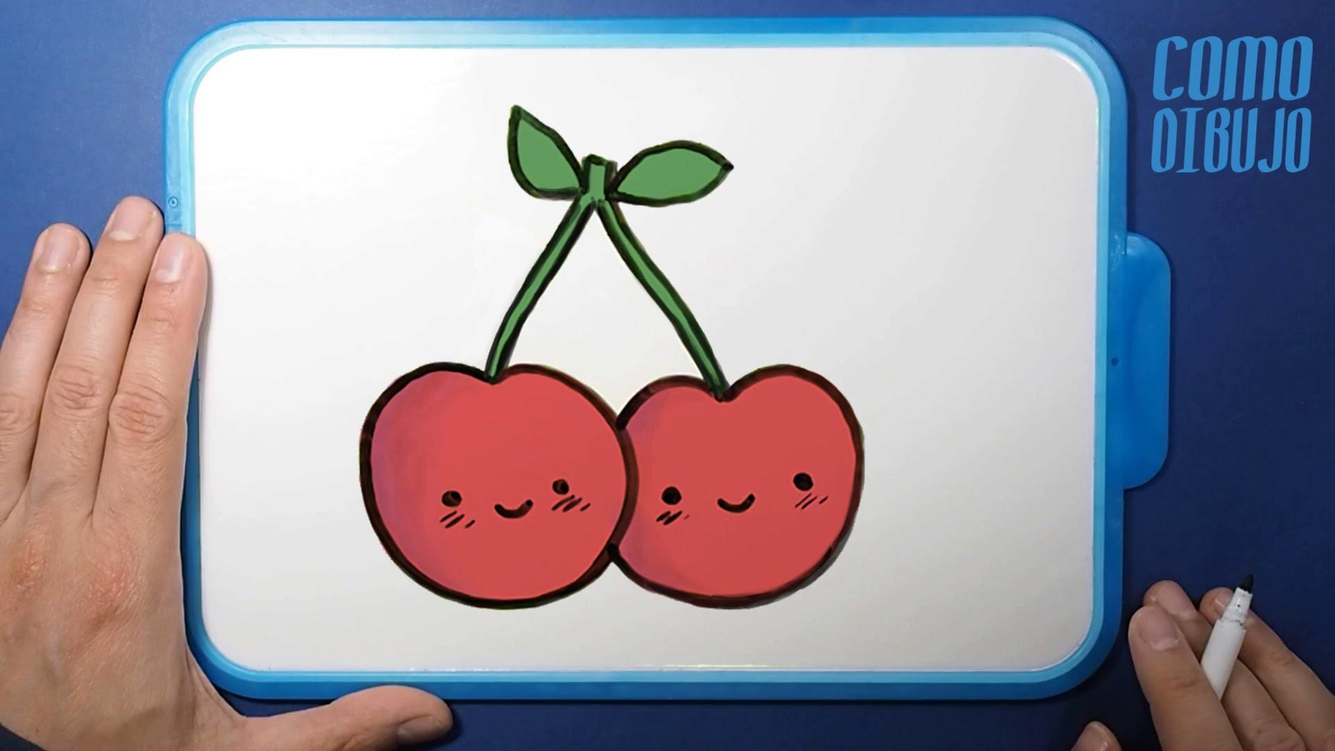 Cómo Dibujar Cerezas Kawaii | How to Draw Cherries | Dibujos Kawaii Drawings