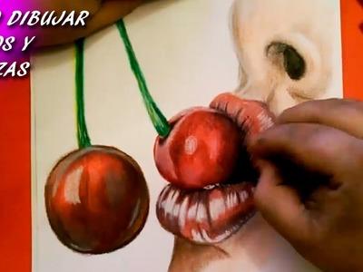 Como Dibujar Labios y Cerezas. How To Draw Lips and Cherries
