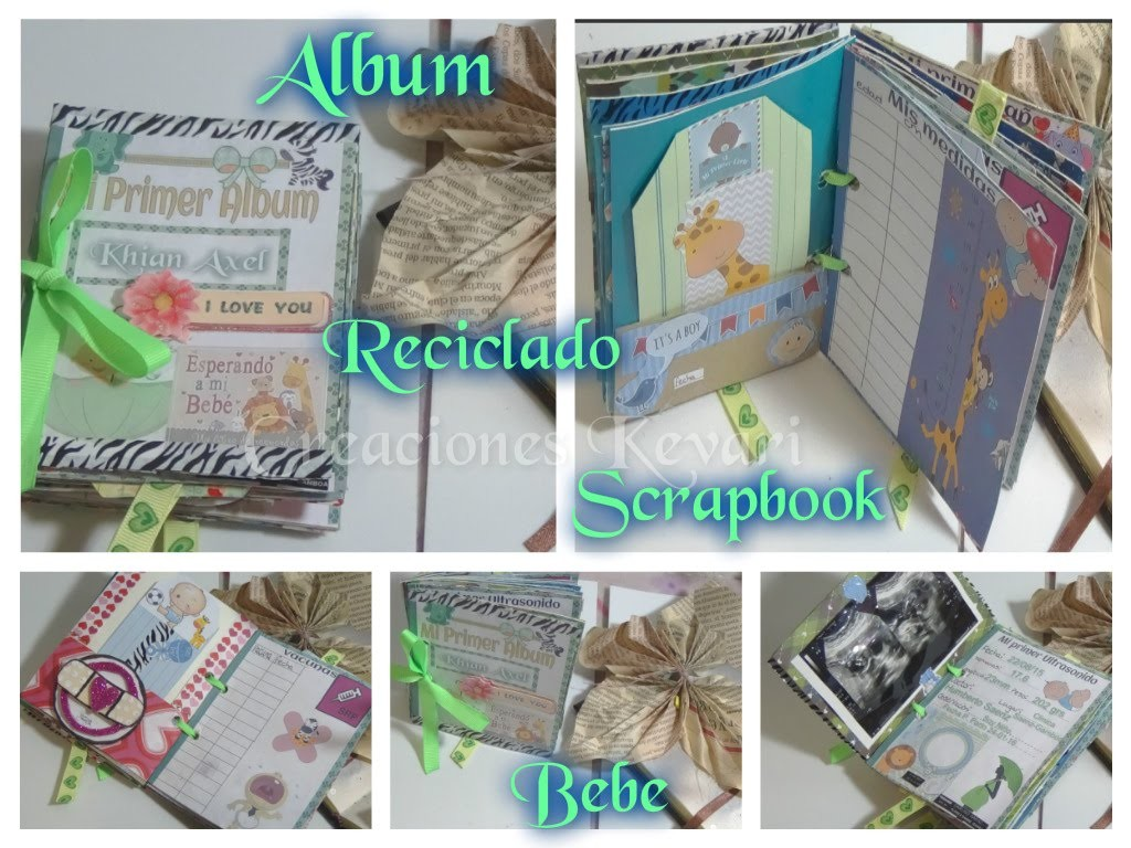Album Reciclado para bebe Scrapbook.Mini Scrapbook Recycle Toilet Paper Rolls