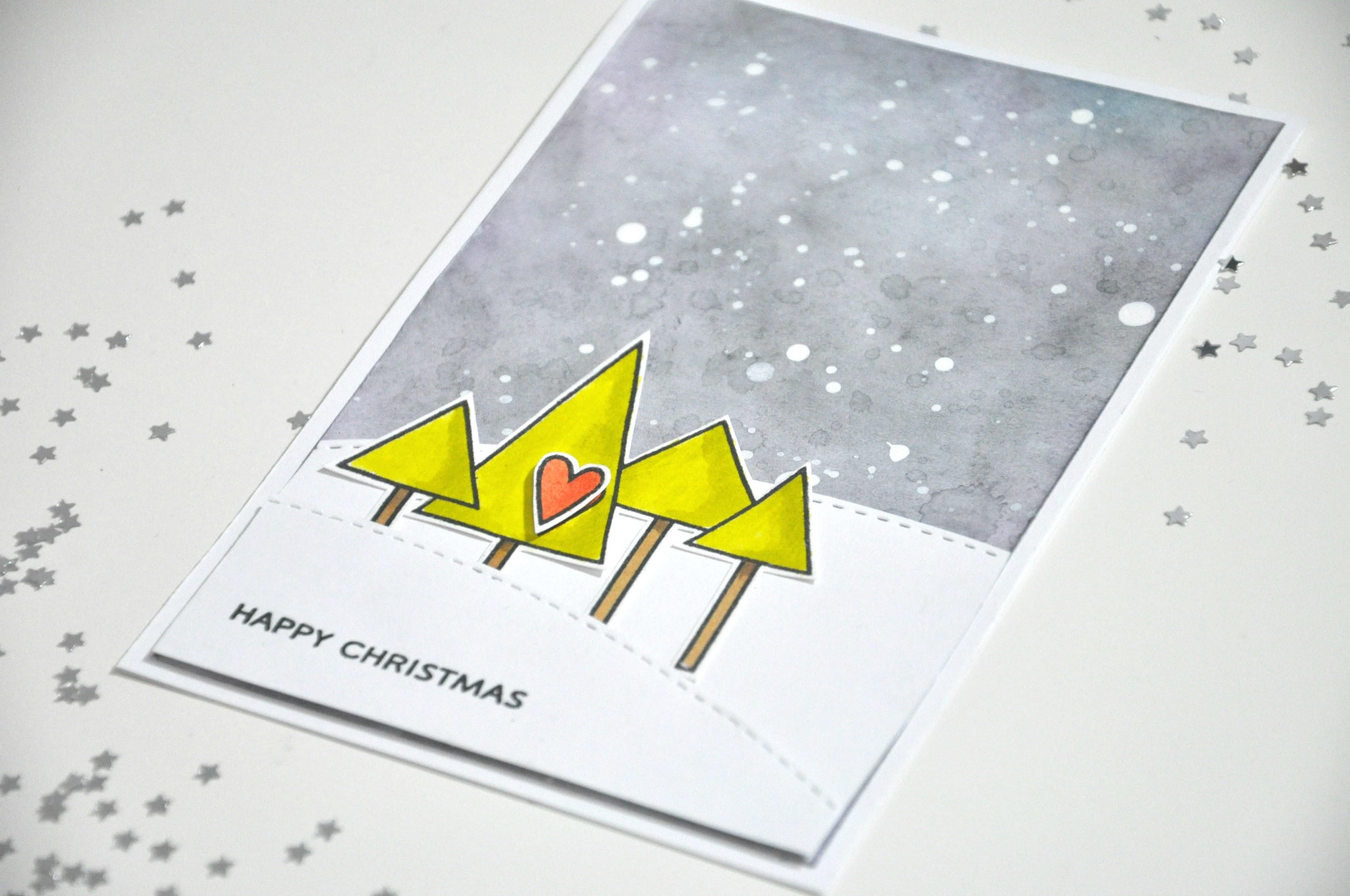 Tutorial tarjeta navideña con tintas Distress Ink y sellos de Paper Smooches. Christmas card
