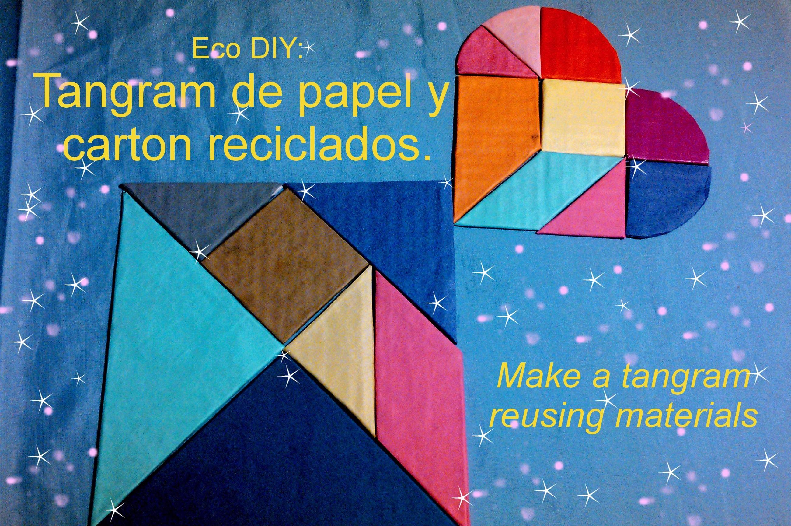 Eco DIY: Tangram de papel y carton reciclados. Make a tangram reusing materials