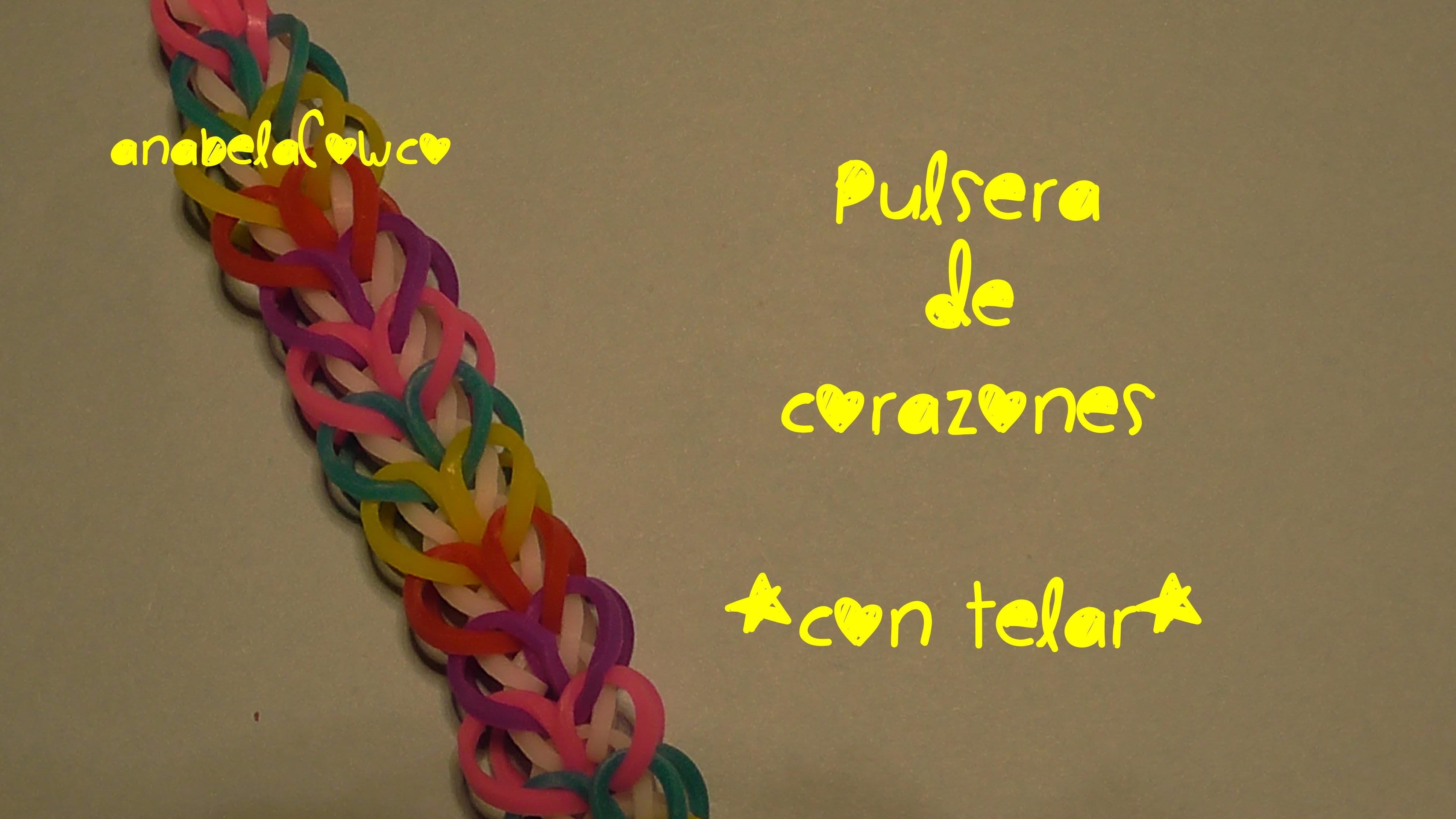 Pulsera de corazones con telar Rainbow loom heart bracelet