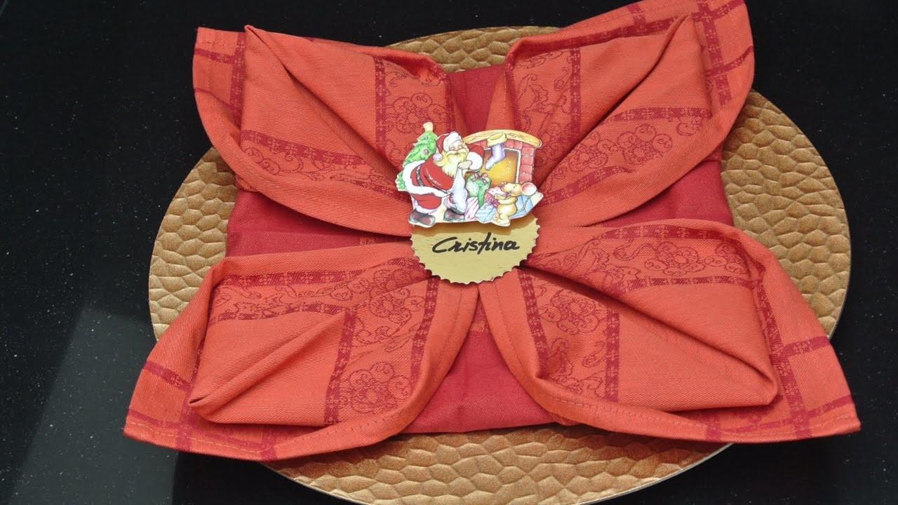 Adornos navideños - Servilletas Flor de Navidad   Christmas Decorations - Christmas Flowers Napkins