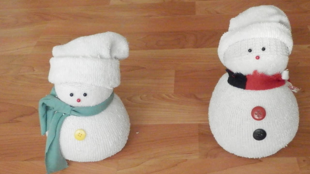 Manualidades: Muñeco de nieve con calcetín | Christmas Decorations: Sock Snowman