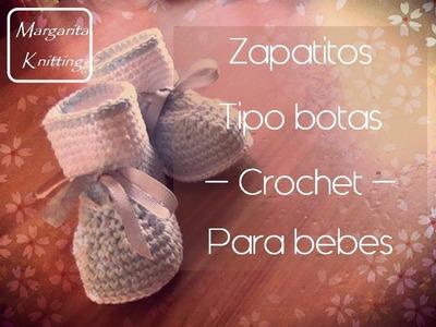 Zapatitos tipo bota para bebe a crochet (zurdo)