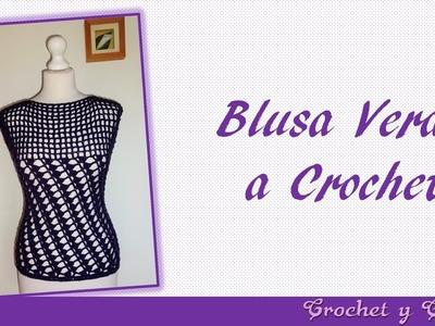 Blusa verano con puntos combinados a crochet para mujer – Parte 2