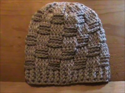 Gorro con punto cesta a crochet.