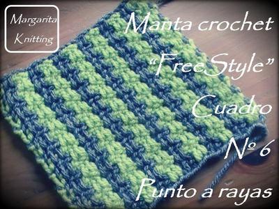Manta a crochet FreeStyle cuadro 6: punto rayas (diestro)