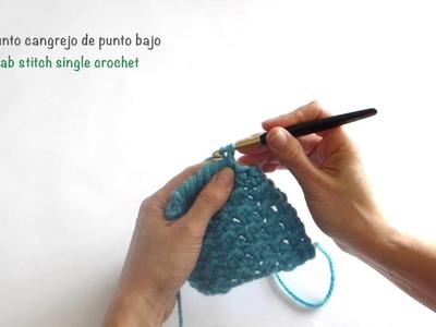 Punto cangrejo de punto bajo. Crab stitch single crochet