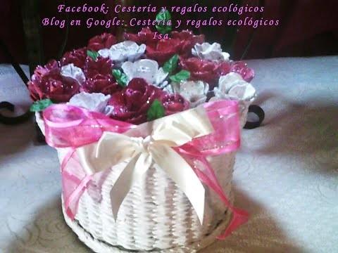 Cesto con tapa con rosas  Video 1 de 2. DIY Paper baskets