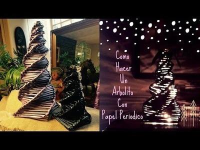 Como Hacer Arbolito de Navidad con Periodico tutorial DIY Recyclar