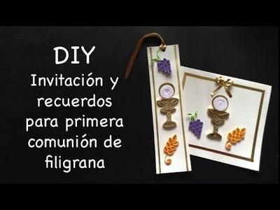 DIY Invitacion y recuerdo de Filigrana para Primera Comunion