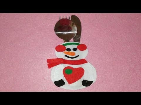Porta cubiertos muñeco nieve adornos navideños manualidades DIY Christmas hасеr as CUTLERY BOX