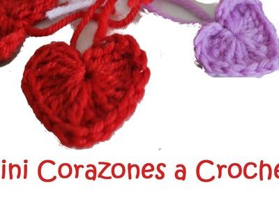 Como hacer mini corazones tejidos a crochet