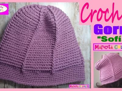 """Gorro caído a crochet Ganchillo """"Sofía"""" por Maricita Colours Tutorial Gratis!"""