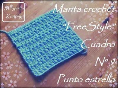 Manta a crochet FreeStyle cuadro 9: punto estrella (diestro)