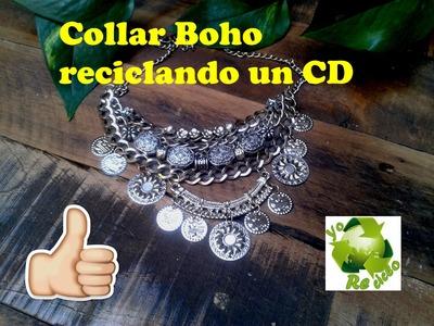 Como hacer un Collar boho reciclando un CD.DIY -DelCarmenArtesanal