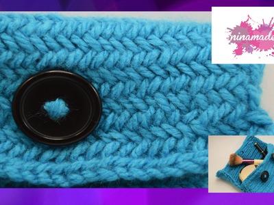 DIY. Tejer un estuche con punto de espiga. How to knit the herringbone stitch.