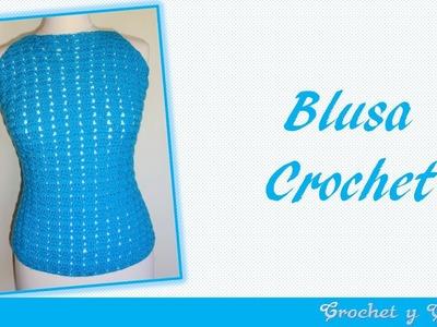 Blusa agua marina para verano tejida a crochet ganchillo
