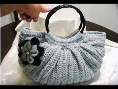 Bolsa Gris Gordita Tejida en Crochet - Fat Bottom Crochet Shiny Gray PARTE 1