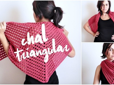 Chal triangular FACIL a crochet (ENGLISH SUB!) tutorial chal tejido en punto red (malla, encaje)
