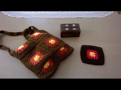 Como hacer un bolso en crochet o ganchillo: Bolso con el cuadrito de la abuela