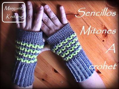 Como se hacen unos lindos mitones a crochet (zurdo)