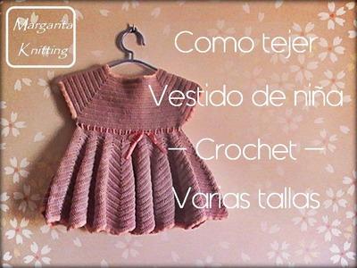 Como tejer un vestido de niña a crochet todas las tallas (zurdo)