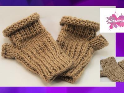 DIY. Como tejer mitones sin dedos.Like knitting fingerless mittens.