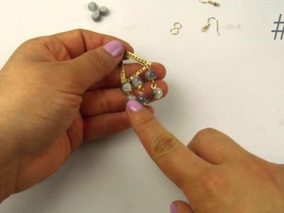 DIY El Galeón Aretes con Cristal y Conector de Pewter