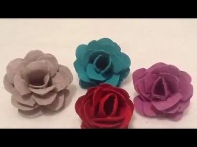 ♻️✂️DIY haz Flores en forma de rosa reciclando cartón de huevo.Manualidades