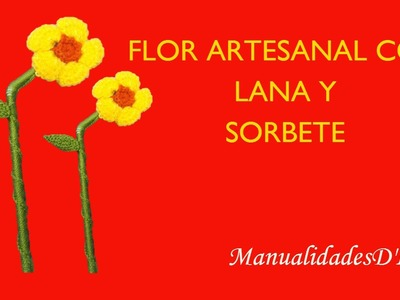 Flor artesanal a crochet con sorbete