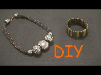 Haz un Collar de moda verde con dorado DIY