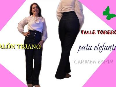 PANTALÓN TEJANO DE TALLE TORERO Y PATA ELEFANTE: DIY