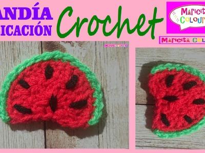 Sandía a Crochet Aplicación Tutorial Gratis por Maricita Colours