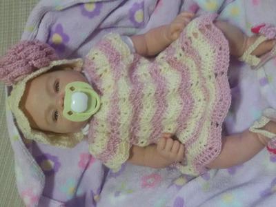 Vestido bebe a crochet de 0 a 3 meses.