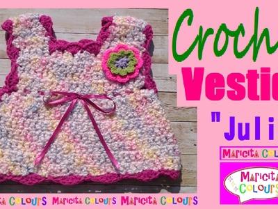 """Vestido bebé a Crochet Express Básico  6 - 9 meses """"Julia"""" por Maricita Colours"""