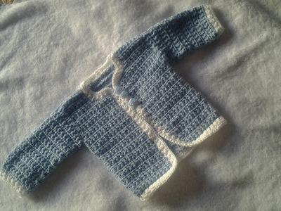 Chaqueta ,chambrita o cardigan a crochet bebe primera puesta #tutorial #pasoapaso