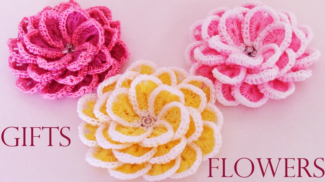 Como tejer  fácil y rápido flores en una sola tira- Make creates  beautiful flowers cute gifts