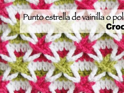 Punto con estrellas de vainillas de colores o estrella polaca tejido a crochet (¡incluye diagramas!)