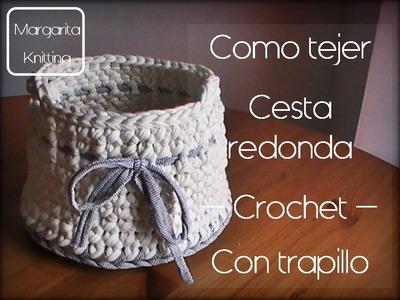 Como se hace una cesta redonda de trapillo a crochet (zurdo)