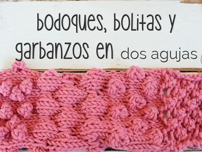 Cómo tejer Bodoques, Bolitas, Borlas, Garbanzos en dos agujas