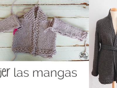 Cómo tejer chaqueta de bebé.adulto (dos agujas) PARTE III: mangas