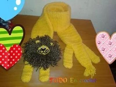 Paso a paso bufanda divertida de leon para niños y niñas