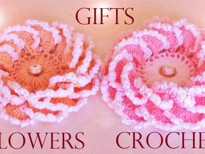 Como tejer fácil y rápido crear  diseñar flores en una sola tira- Make creates roses