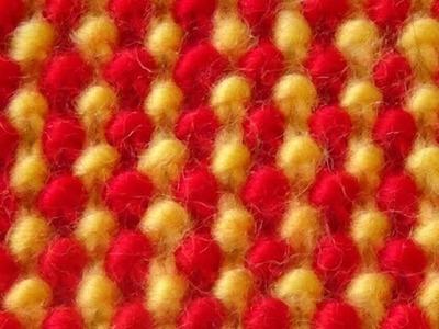Cómo Tejer Punto Bolitas de Colores 2 Agujas (335)