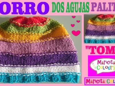 "GORRO Bebé Dos Agujas ""Tomy"" Todas las TALLAS Tutorial por Maricita Colours"