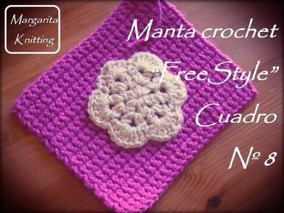 Manta a crochet FreeStyle cuadro 8: flor (zurdo)