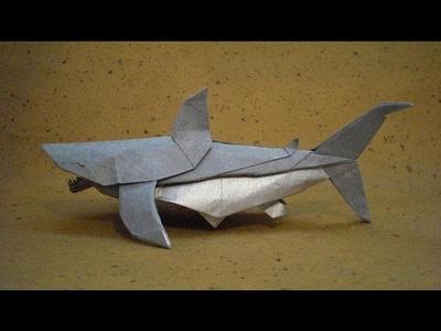 Origami instrucciones de plegado : gran tiburón blanco